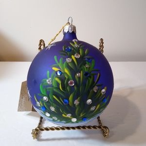 Cobalt Blue Glass Ornament 12 Hand Painted Stones